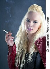 blonde smoking cigarette young fashion girl grunge...