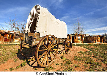 old, covered, wagon, in, a, pioneers', village