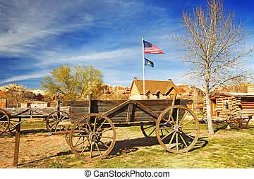 old wooden wagon in a pioneer village