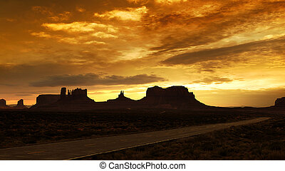sunset on monument valley from scenic route 163