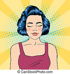 Woman with Closed Eyes. Meditating Girl. Relaxed Woman. Pop Art. Vector illustration
