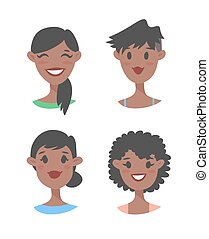 Cartoon style black women - Set of young black female...