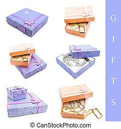 jewelry gift - Set of gift with jewelry and box over white...