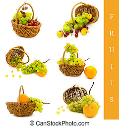 basket with fruits - set of six basket with different fruits...