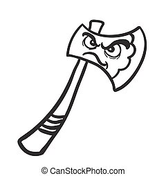 black and white angry cartoon axe