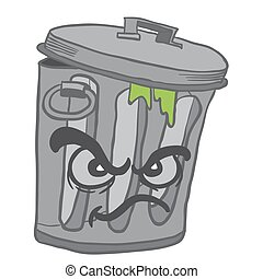 angry garbage can