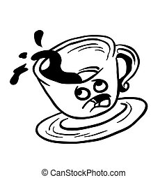 black and white afraid coffee cup spill cartoon illustration