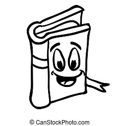 black and white book smiling
