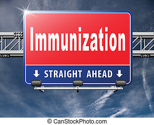 Immunization or flu vaccination needle, road sign billboard...