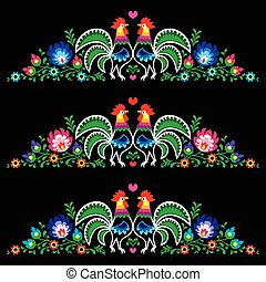 Polish folk art embroidery with roo - Decorative Slavic...