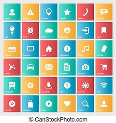 Universal colorful web icons set for internet or mobile...
