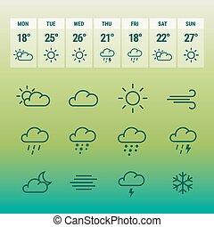 Weather forcast line icons on green. - Weather forcast line...