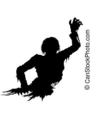 Half zombie men silhouette - Illustration half part of the...