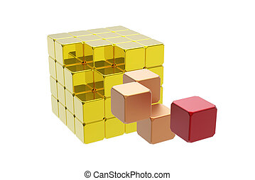 Almost solved puzzle cube isolated on white
