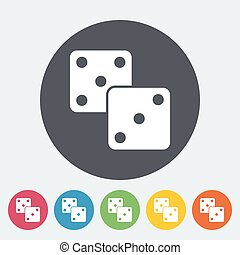 Craps flat icon - Craps Single flat icon on the circle...