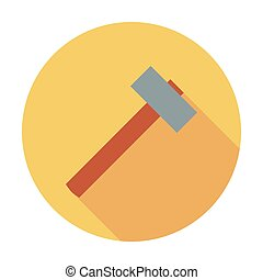 Hammer flat icon - Hammer icon Flat vector related icon whit...
