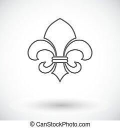Fleur Vintage Style - Fleur Single flat icon on white...