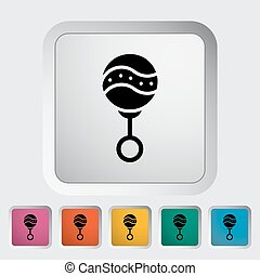 Rattle flat icon - Rattle icon. Flat vector related icon...