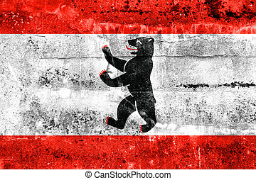 Flag of Berlin, painted on dirty wall. Vintage and old look.
