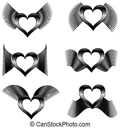set of the abstract wings with hear - vector illustration of...
