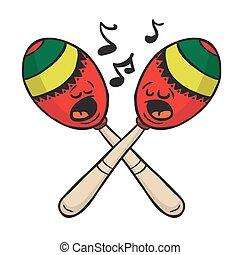 maracas singing cartoon illustration