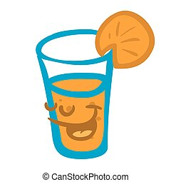 orange juice smiling cartoon illustration isolated on white