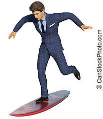 Business surfing isolated - Young handsome businessman...