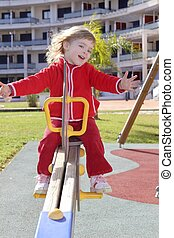 little girl preschool playing park playground - little girl...