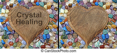 Crystal healing Plaque - Two identical images of a wooden...