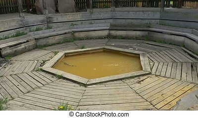 Mineral Water Wood Bath - A mineral ferrous water bathing...