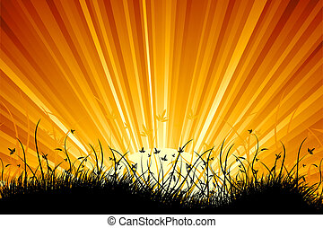 Amazing natural sunrise landscape with grass silhouette for...