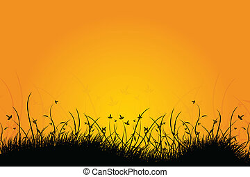 Amazing natural sunrise landscape with grass silhouette