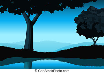 Majestic landscape with tree
