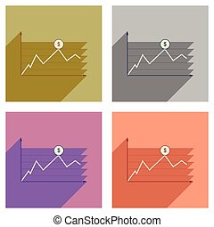 Concept of flat icons with long shadow financial infographics