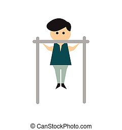 Flat web icon on white background man horizontal bar - Flat...