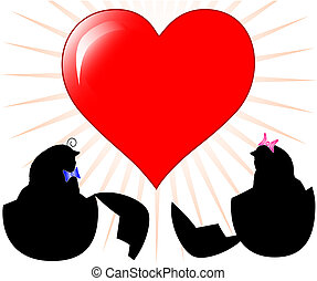 two chickens silhouette with heart