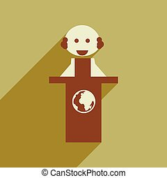 Flat web icon with long shadow man stands Tribune - Flat web...