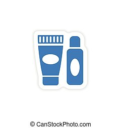 stylish paper sticker on white background shaving cream
