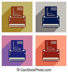 Concept of flat icons with long shadow fax machine - Concept...
