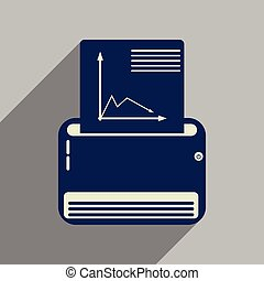 Flat web icon with long shadow fax machine - Flat web icon...