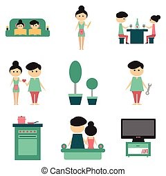 Concept of flat icons on white background family life