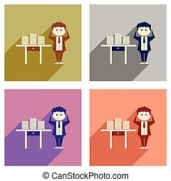 Concept of flat icons with long shadow office worker