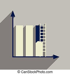 Flat web icon with long shadow construction schedule - Flat...
