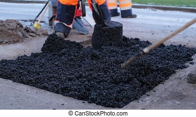 Laying Asphalt In A Pothole HD