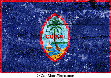 Flag of Guam, painted on dirty wall Vintage and old look