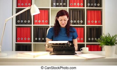 Girl Typing On A Oldschool Typewriter HD