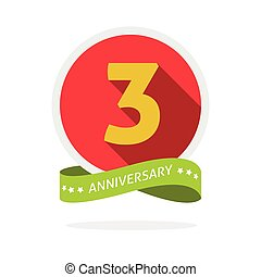 Anniversary 3rd logo template with a shadow on red circle...