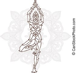 card with pose ornament yoga.
