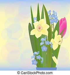 spring bouquet vector - a bouquet of spring flowers:...