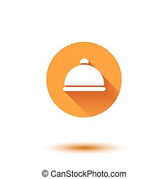 Vector orange flat long shadow cloche restaurant icon